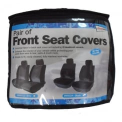 Pair of grey car front seat covers (Airbag friendly)