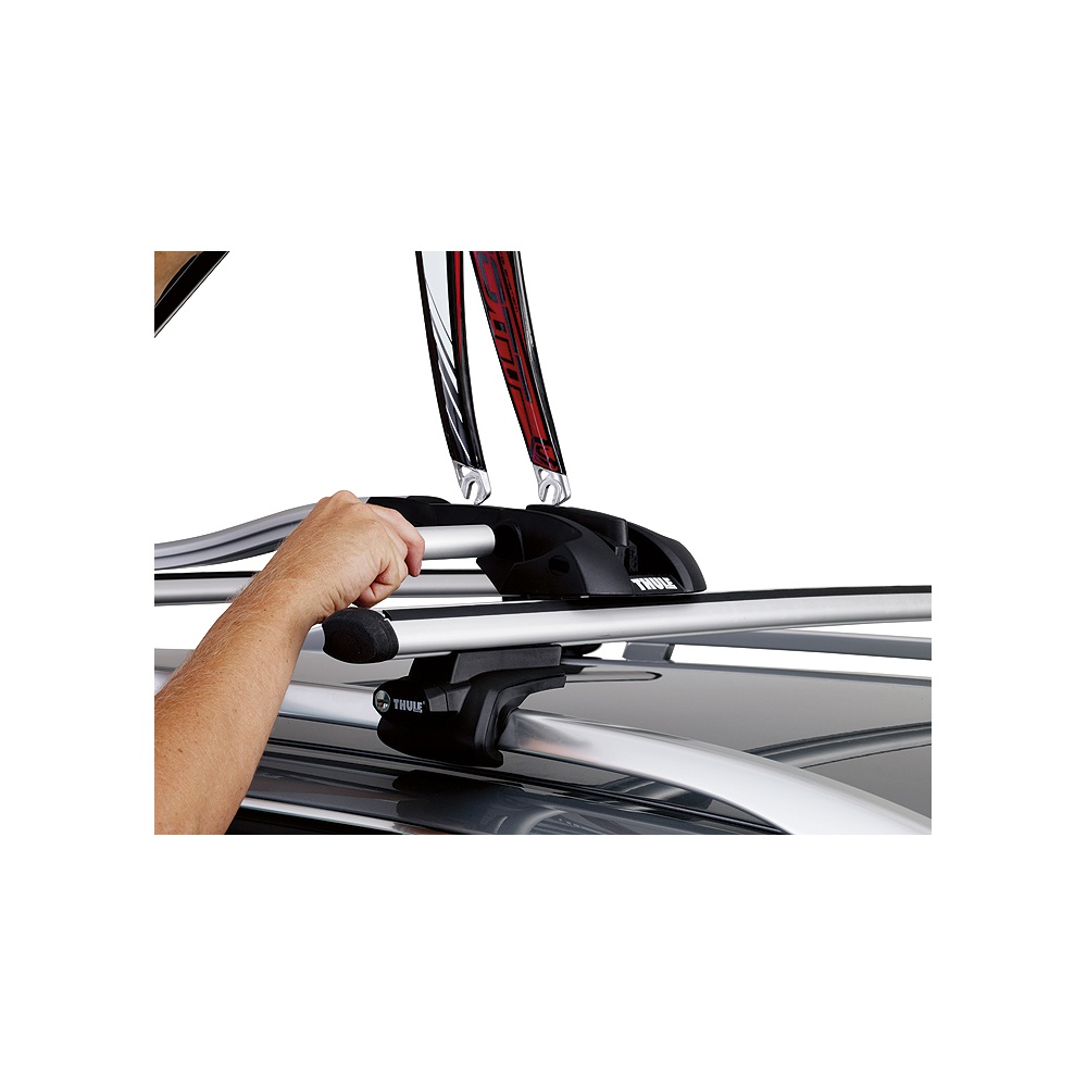 thule 561 outride roof mount bike rack from direct car parts. Black Bedroom Furniture Sets. Home Design Ideas