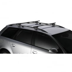 Thule SmartRack universal roof bars for Ford Grand C-Max 2010> with raised roof rails.